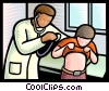 Vector Clip Art graphic  of a Doctors with Patients