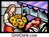 Vector Clipart illustration  of a Florist arranging flowers