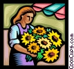 Vector Clip Art graphic  of a woman with a bouquet of