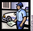 Vector Clip Art image  of a police officer issuing a
