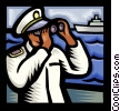 Vector Clip Art image  of a Sailor looking through