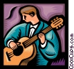 Vector Clipart illustration  of a musician player in guitar