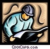 Vector Clip Art image  of a worker reading over blue prints