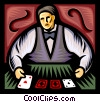 Vector Clip Art graphic  of a casino dealer