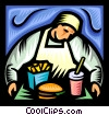 Vector Clip Art graphic  of a fast food server