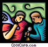 reporter interviewing a tennis star Vector Clipart illustration