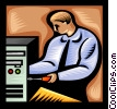 Vector Clip Art image  of a computer repair technician