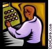Vector Clipart graphic  of a sales clerk working the