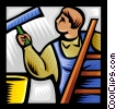 Vector Clip Art image  of a window cleaner