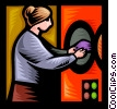 Vector Clip Art graphic  of a woman doing her laundry