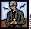 Vector Clip Art image  of a Priest