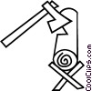 Vector Clipart graphic  of an axe chopping wood