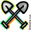 Vector Clip Art image  of a Shovels