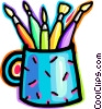 Vector Clip Art graphic  of a Paint and Brushes