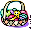 Vector Clip Art graphic  of a basket of Easter Eggs
