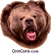 Vector Clip Art image  of a Growling grizzly bear