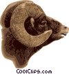 Vector Clip Art graphic  of a Ram with large horns