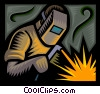 Vector Clip Art image  of a welder