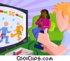Vector Clipart image  of a Kids playing video games