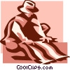 Vector Clipart graphic  of a man making a blanket
