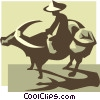 Vector Clipart illustration  of a farmer and water buffalo