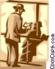 Vector Clipart illustration  of a man reading a book
