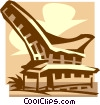Vector Clip Art image  of a traditional dwelling - Bali