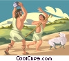 Vector Clipart graphic  of a Cain and Abel