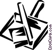 Vector Clip Art graphic  of a dustpan & hand broom