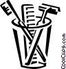 razor, toothbrush, and comb Vector Clip Art picture