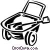 Vector Clip Art graphic  of a wheelbarrow and shovel