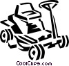 Vector Clip Art image  of a riding lawnmower