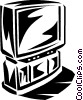 big screen television Vector Clipart picture