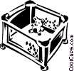 Vector Clip Art image  of a baby playpen