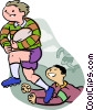 Vector Clipart graphic  of a rugby players