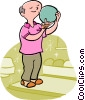 Vector Clipart image  of a Bowler ready to bowl