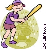 Baseball player at bat Vector Clipart graphic