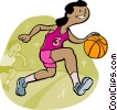 Basketball player dribbling ball Vector Clipart illustration
