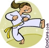 Vector Clip Art graphic  of a Female martial artist