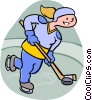 Girl playing hockey Vector Clipart illustration