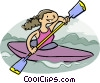 girl kayaking Vector Clipart illustration