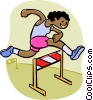 Vector Clip Art graphic  of a Boy jumping hurdle
