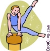 Gymnast performing on the pommel horse Vector Clipart illustration