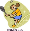 Vector Clipart image  of a Girl playing badminton