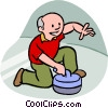 man curling Vector Clip Art picture