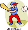 Vector Clipart illustration  of a boy playing baseball