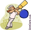 Vector Clip Art graphic  of a Girl playing cricket