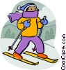 Vector Clipart graphic  of a Downhill skier