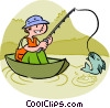 Vector Clipart image  of a Boy catching a fish