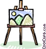 Easel with a painting Vector Clipart graphic